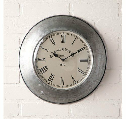 Irvin/'s Country Springhouse Wall Clock in Antique Polished Tin