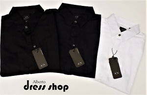 CAMICIA-SHIRT-SLIM-FIT-BASICA-ARMANI-EXCHANGE-UOMO-8NZCBD-ZN10Z-BLU-BIANCO-NERO
