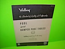 Valley Pool And Bumper Pool Tables Original Billiards Coin Op Promo Sales Flyer