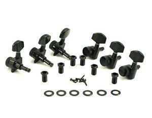Kluson Locking Tuners - 3x3 - Large Metal Button, Black KL-3801B