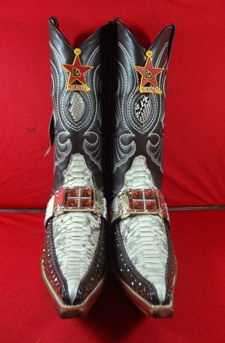 New Men'S Real Python Snake Skin Genuine Leather Cowboy Boots Rodeo Western C56