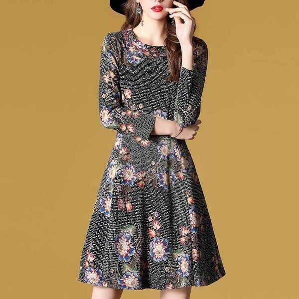 Elegante vestito abito coloreato fiori slim slim slim cintura scampanato morbido 4974 b82446