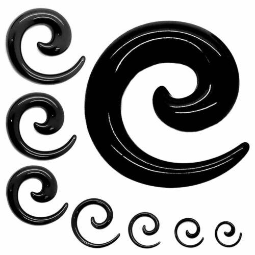 Taper Spiral Snail Acrylic Plug Black Tunnel Ear Stretcher Piercing 1,6-16 mm