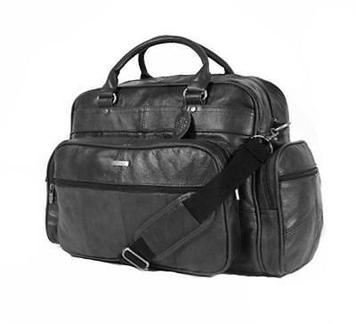 MENS LADIES WOMENS LEATHER HOLDALL TRAVEL GYM SPORTS FLIGHT BAG CABIN BAG BLACK
