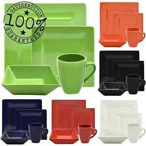 dinnerware set 16 piece square porcelain plates dishes