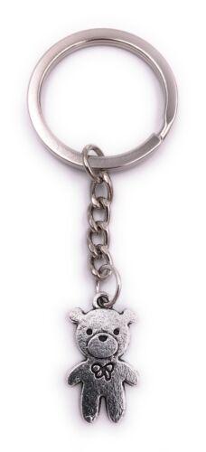 Teddy Bär Kuscheltier Schlüsselanhänger Anhänger Silber aus Metall