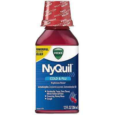 Vicks NyQuil Cold - Flu Nighttime Relief Liquid, Cherry 12 oz (Pack of 6)