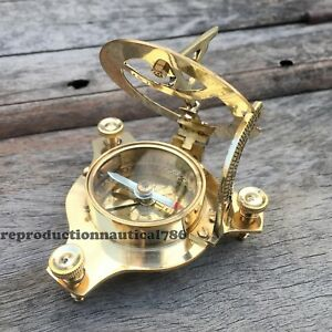 Solid Brass Hand-Made Vintage Working Nautical Sundial Compass Marine Decor