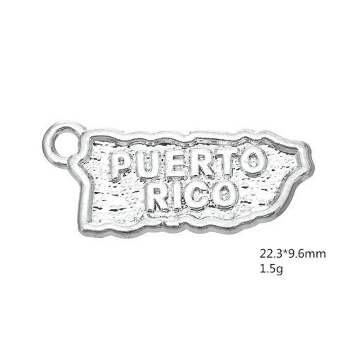 20pcs Argent Antique Porto Rico Carte Pendentif diyjewelry Making Bracelet Collier