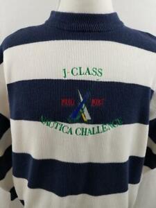 VTG-Nautica-Mens-L-White-Navy-Color-Block-Striped-Sweater-J-Class-Challenge