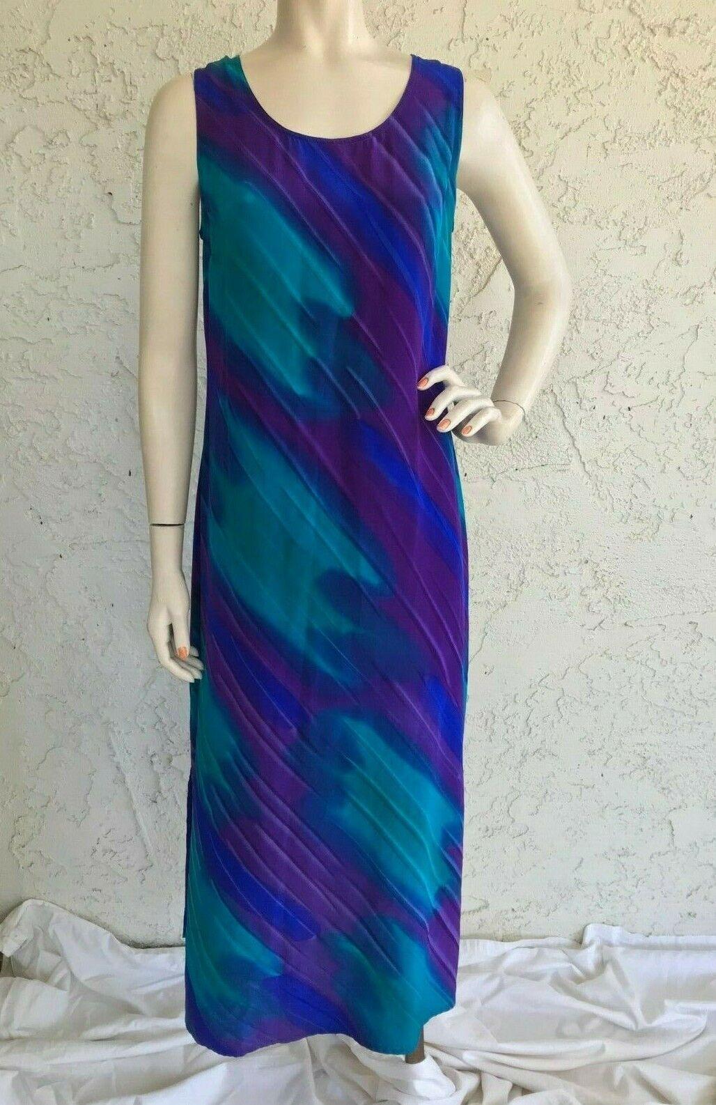 SIMPLY SILK Dress Purple blueee Watercolor Maxi Tunic Art to Wear Sz S