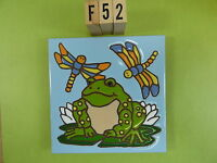 Ceramic Art Tile 6x6 Frog Lily Pad Colorful Dragonfly Hand Painted Trivet F52