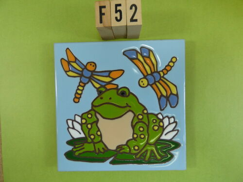 """Ceramic Art Tile 6/""""x6/"""" Frog lily pad colorful dragonfly hand painted trivet F52"""