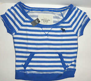 2f2a6660595426 ABERCROMBIE   FITCH LARGE L BLUE CROP TOP BLUE WHITE STRIPED WOMEN S ...