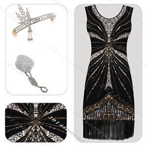 1920s Dress Vintage Flapper Gatsby Party Sequin 20s Tassel Costume Headband set