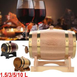 1-5L-10L-Wood-Oak-Timber-Wine-Barrel-Beer-Whiskey-Rum-Port-Wooden-Keg-w-Stand