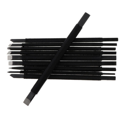 10pcs Tungsten Steel Gravers Chisel Stone Seal Wood Carving Engraving Tools