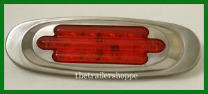 Maxxima Side Marker Clearance 7 LED light M36180R Stainless Steel Chrome Red