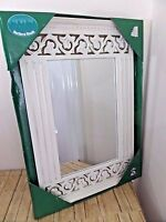 Alco Rectangular Mirror Shabby Chic Cottage Style Soft White Fluted Scrolled