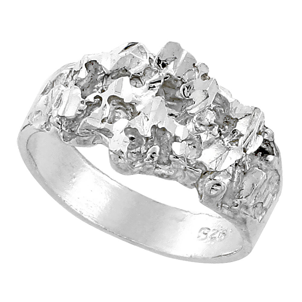wide Sterling Silver Diamond Cut Finish Nugget Ring 7//16 inch 11 mm