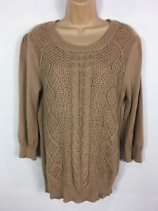 WOMENS-OASIS-BROWN-CABLE-KNIT-3-4-SLEEVE-JUMPER-SWEATER-PULL-OVER-SIZE-L-LARGE