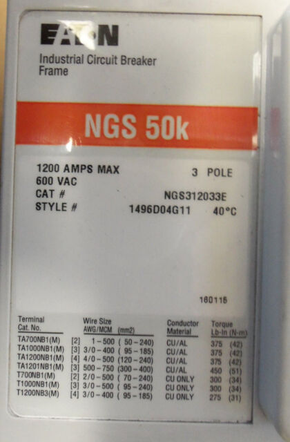 Ngs312033e ngs 1200 amp circuit breaker from eaton ebay greentooth Image collections