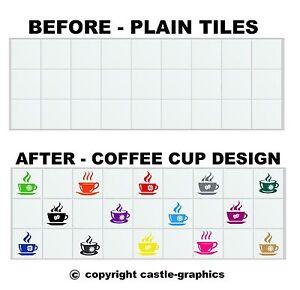 Coffee cup stickers stencils for 4 x 4 4 inch 100mm for Stencil per piastrelle bagno