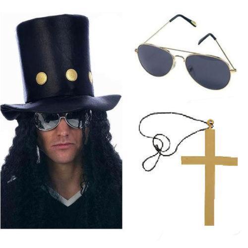 3pc Guns Roses Rocker Fancy Dress Kit Hat Hair Cross Aviator Legends Party Slash