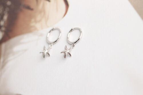 Kleine Creolen m Anhänger Seestern echt Sterling Silber 925 Damen Ohrringe