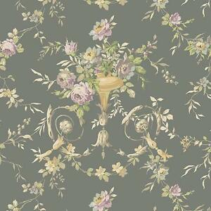 Wallpaper-Trditional-Floral-Urn-on-Gray-Metallic-Background