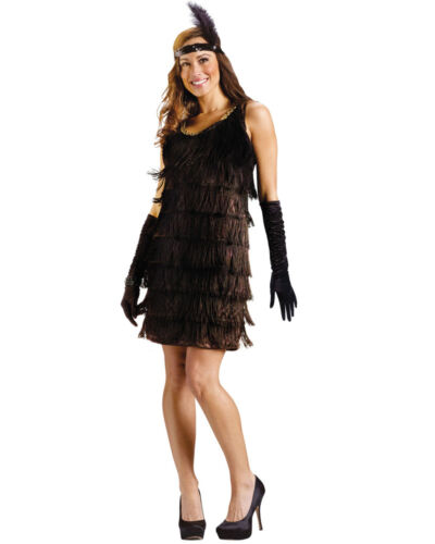 C577 Ladies Black Flapper Chicago 20s 1920s Fancy Dress Adult Party Costume