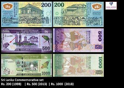 Rs.500 Rs.200 ,2018 Rs.1000 Sri Lanka Commemorative banknotes set 1998 ,2013
