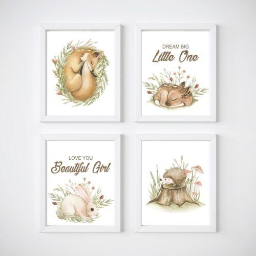 deer Woodland Animals Nursery Wall Decor Prints rabbit boy or girl Fox