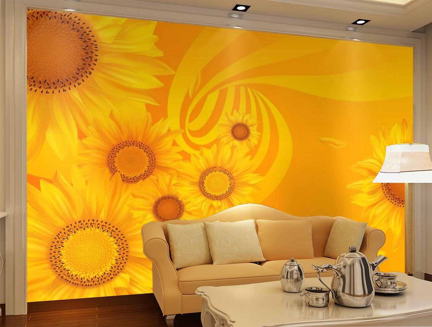 3D golden Sunflower 9 Wall Paper Murals Wall Print Wall Wallpaper Mural AU Carly