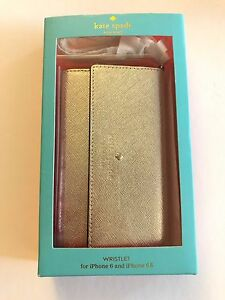 NIB Kate Spade Cedar Street Metallic Gold Wristlet iPhone 7/s 6/s Case & Mirror