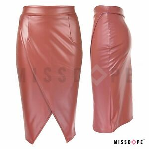 a0f122c334 NEW SLIT BROWN LONG LENGTH FAUX LEATHER SKIRT LADIES BODYCON WOMENS ...