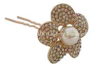 Magasiner Pour Pas Cher Large Single Gold Strass Perle Cheveux Fleur Pin / Mariage Accessoires De Cheveux # 257-afficher Le Titre D'origine