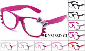 Hello-Kitty-Women-Ladies-Sunglasses-Clear-Lens-Eye-Glasses-Rhinestone-UV-100