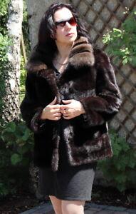 Mink Jacket Zobel Mink fur Jacket Saga Mink Across Full Fur fur Coat Dark Braun