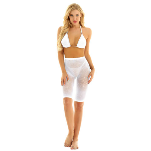 Mesh See Through Sequins 2 Pieces Fishnet Bra+Short Pants Lingerie Swimsuit