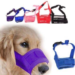 Large-small-Dog-Nylon-Adjustable-ANTI-Bite-Bark-SAFETY-MUZZLE-Breathable-Mesh-HA