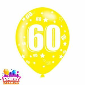 7d618f75fd991 Image is loading 6pk-Age-60-Assorted-Colours-Latex-Balloons-Birthday-