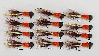 2 Dozen 1//16oz Crappie Hair Jigs #2 Nickle Sickle Hooks Hard Painted Jig Heads