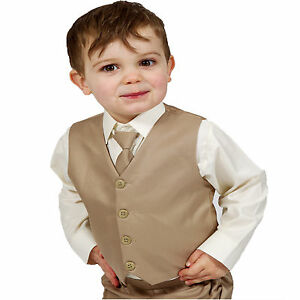 0d49b9f236d6 Boys Suits 4 Piece Beige Waistcoat Suit Wedding Page Boy Baby Formal ...