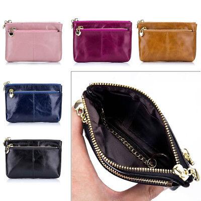 Womens Genuine Leather Wallet Zipper Long Purse Waxy Hand Bag Fashion Coin Purse