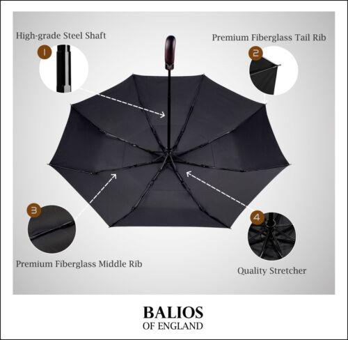 Balios Parapluie Noir Double Auvent Bois Poignée Coupe-vent Auto ouvrir /& fermer UK