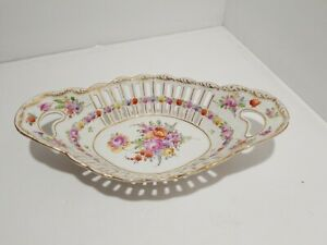 """Dresden Reticulated Oval Basket Bowl - Gold Gilt Germany 10 1/2"""" Great"""