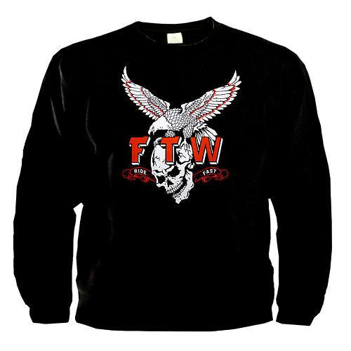 Biker Aquila Teschio Skull Rocker Moto Felpa Pullover 4210 BL