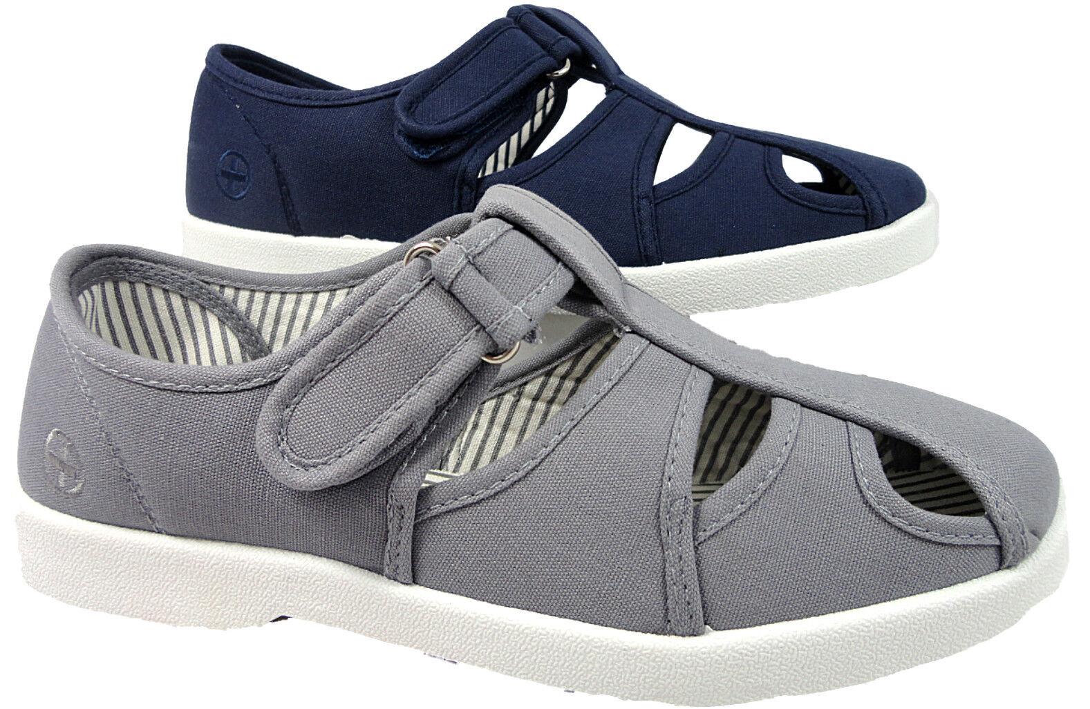 Mens Sandal Dr Keller Casual Canvas Pump Open Sandal Mens Deck Shoes Navy Grey 89882d