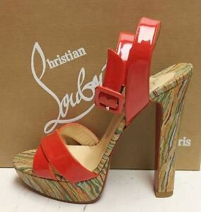 862003ad5 Image is loading Christian-Louboutin-Glory-140-Patent-Coral-Cork-Platform-